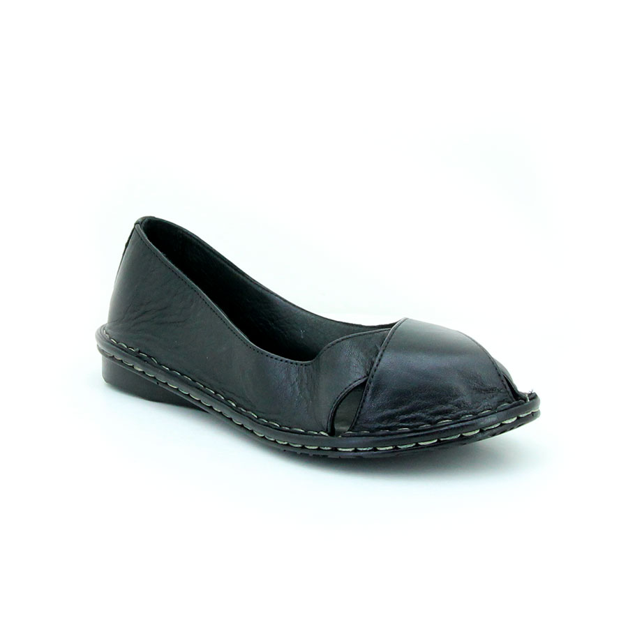 Freelora 509 Siyah Deri Kadın Babet