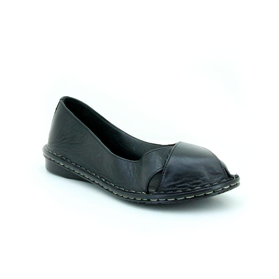Freelora 509 Siyah Deri Kadın Babet - Thumbnail